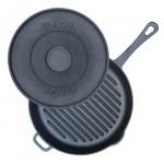 Сковорода-гриль чугунная круглая с литой ручкой и крышкой-прессом