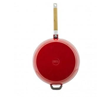 Сковорода чугунная в красном эмалированном покрытии