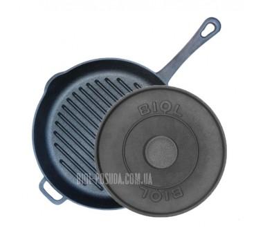 Сковорода гриль круглая с литой ручкой и прессом