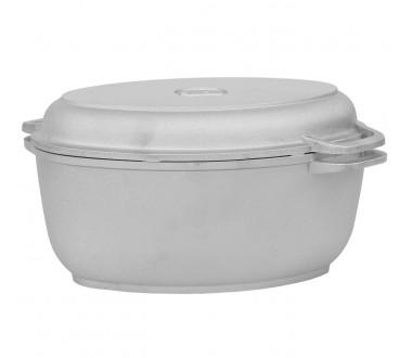 Гусятница литая алюминиевая с утолщенным дном и крышкой-сковородой