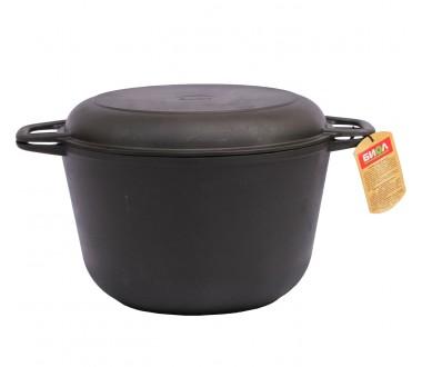 Кастрюля чугунная с крышкой-сковородой