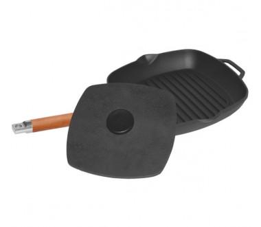 Чугунная сковорода-гриль с крышкой-прессом